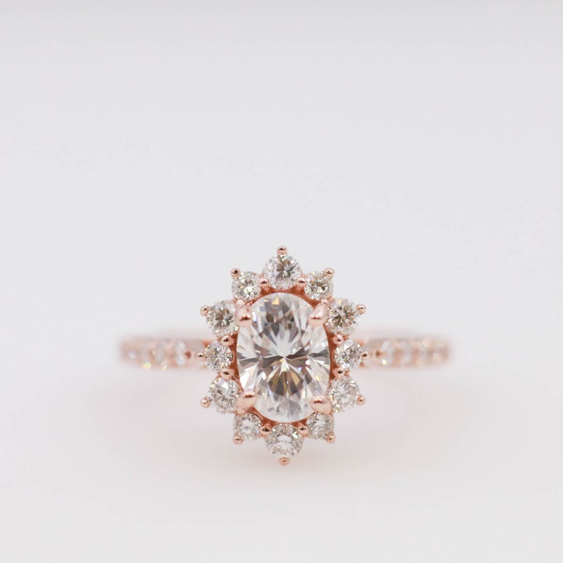 18b348f9e6958 Moissanite Engagement Ring // Morganite Engagement Ring // Diamond  Engagement Ring // Diamond Halo Engagement Ring
