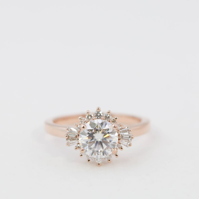 b4beae3ccdc67 Moissanite Engagement Ring // Morganite Engagement Ring // One Carat  Diamond Engagement Ring // Diamond Halo Engagement Ring