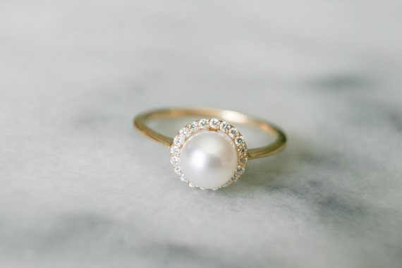 Dainty Diamond Halo Pearl Ring Pearl Engagement Ring