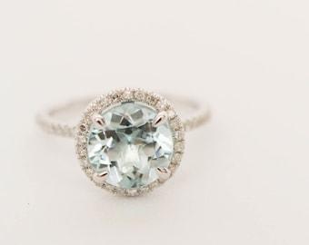 Halo Engagement Ring, Aquamarine Ring, Engagement Ring, Gold Ring, Diamond Ring, Wedding Ring, Bridal Ring, White Gold