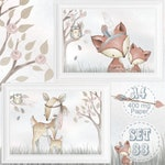 SET of 2 | Nursery Prints Baby Poster Fine Art Print Woodland Forest Boho Animals | Cute Fox, Deer, Owl | Mother and Baby Gift | A4 | SET 33