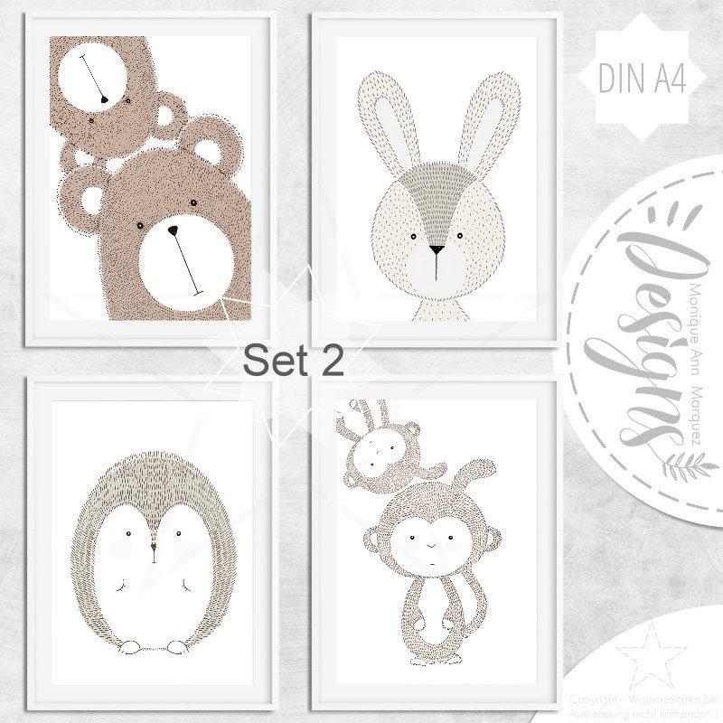 kinderzimmer babyzimmer bilder tiere tier bild poster etsy. Black Bedroom Furniture Sets. Home Design Ideas
