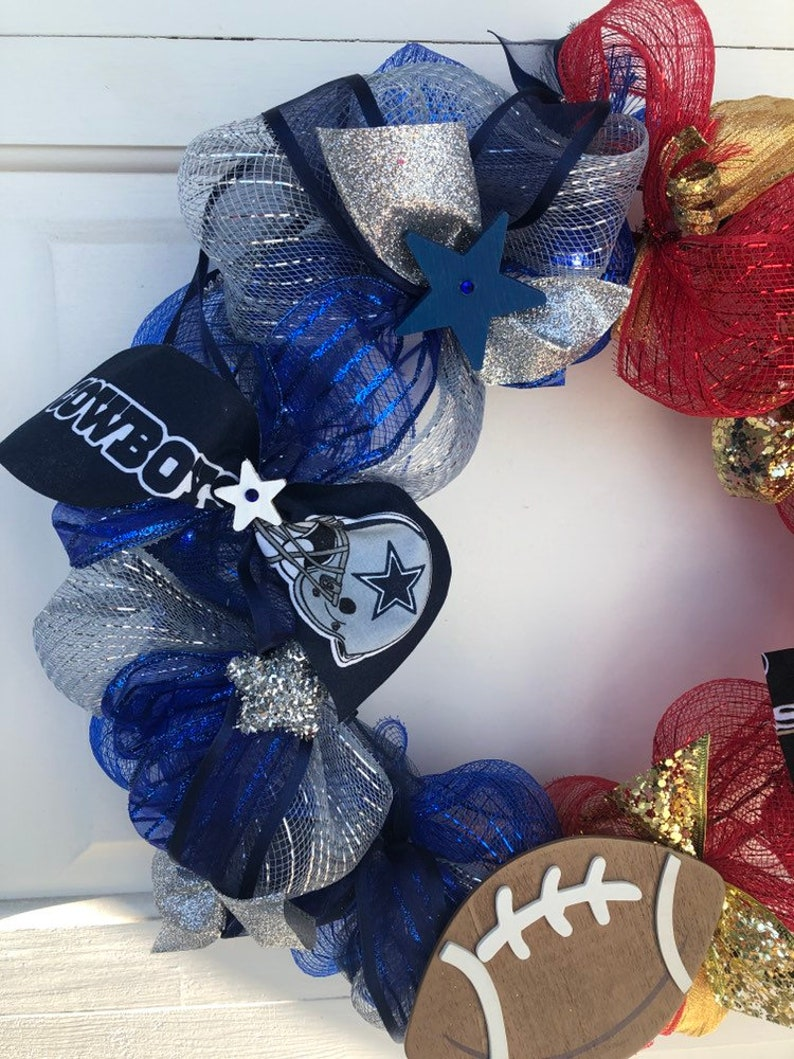 Battery Powered Fan Gift House Divided Dallas Cowboys /& 49ers Wreath with lights Team Wreaths
