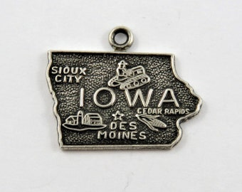 Outline of the State of Iowa Sterling Silver Charm or Pendant.