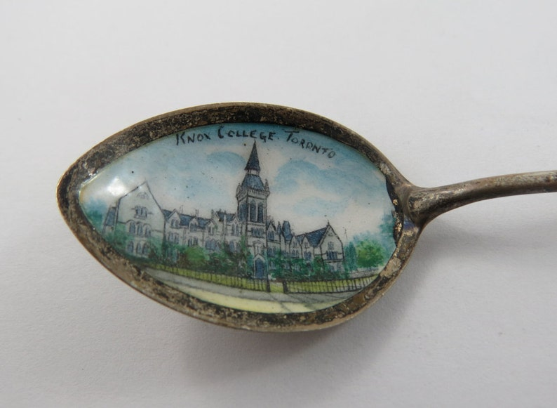Vintage Enameled Sterling Silver Souvenir Spoon from Toronto Ontario showing Knox College