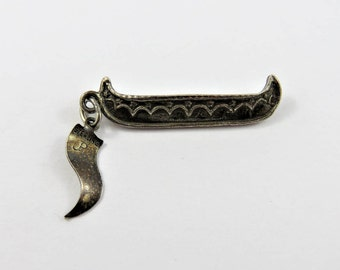 Vintage Voyageur Canoe with Pigeon River Tag Sterling Silver Charm or Pendant.