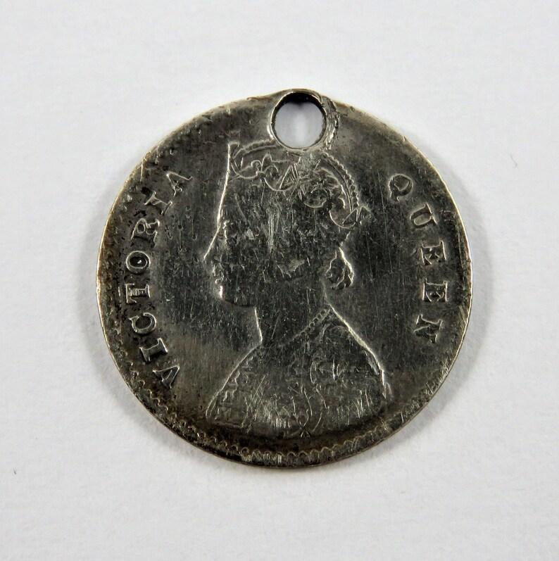 India-British 1862 Silver 2 Annas Coin.Holed.