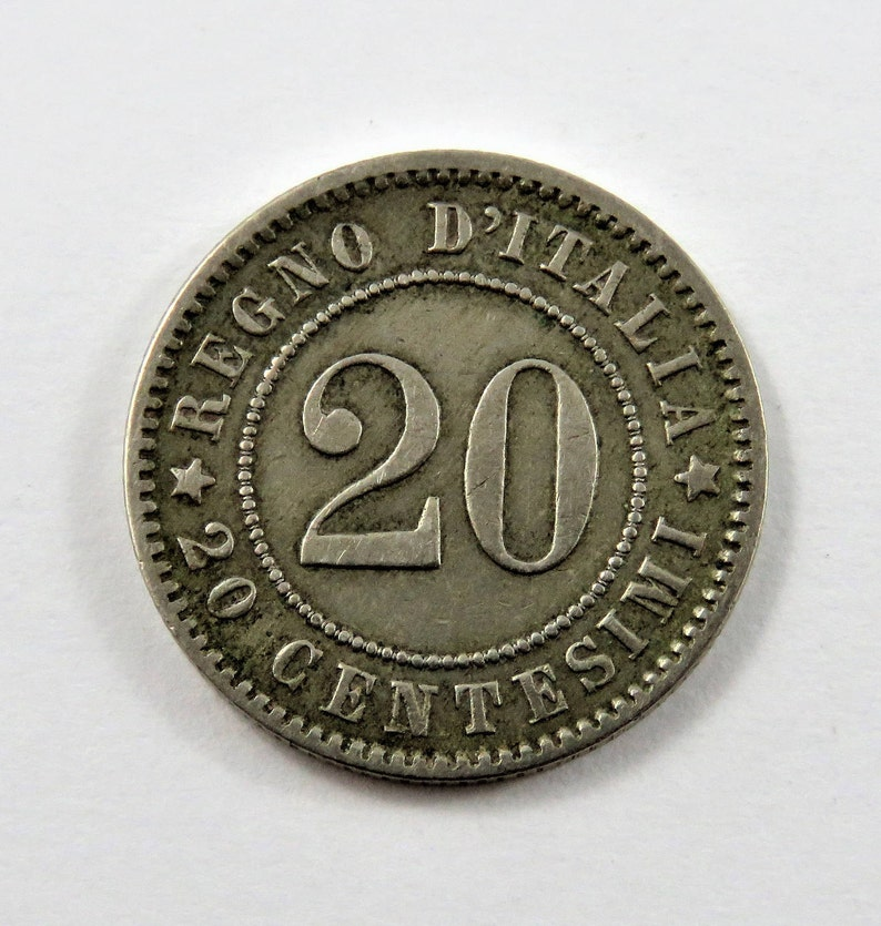 Italy 1894 KB 20 Centesimi Coin.