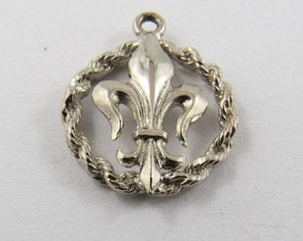 French Fleur De Lis Symbol Sterling Silver Charm of Pendant.