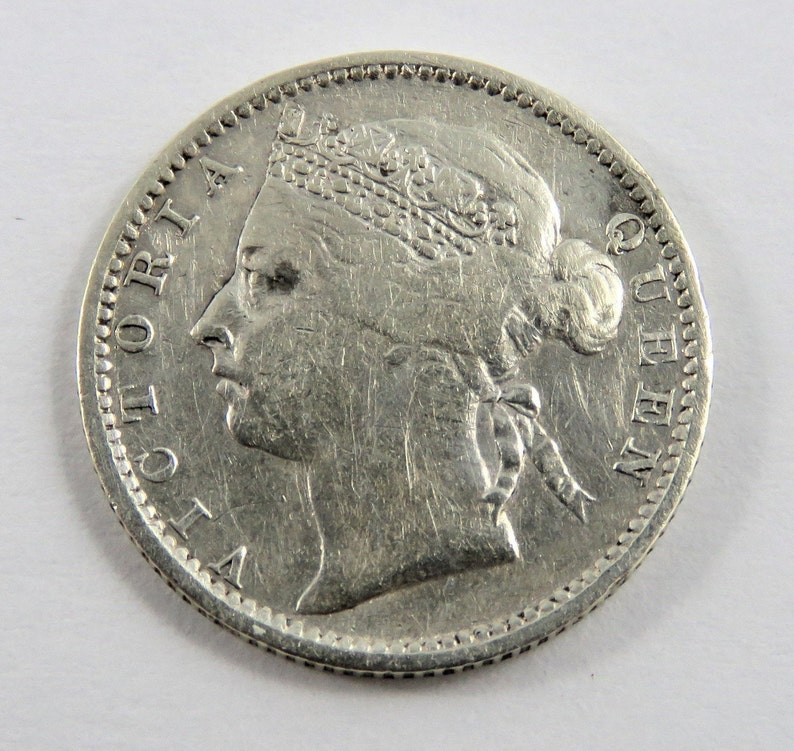 Straits Settlements 1900 Silver 10 Cents Coin.