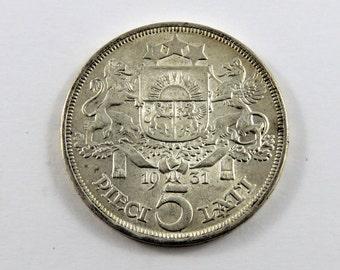 Latvia 1931 5 Lati Silver Coin.