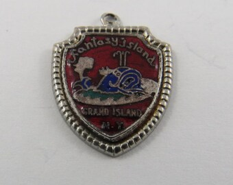 Enameled Fantasy Island Grand Island New York Sterling Silver Charm of Pendant.
