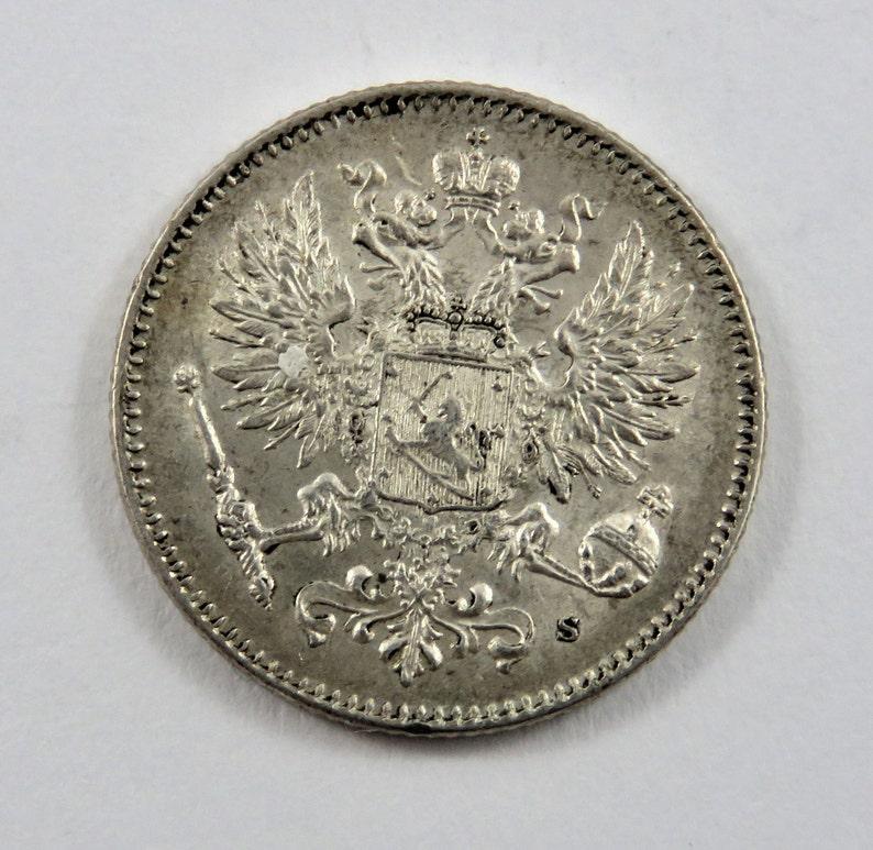 Finland 1914 S Silver 50 Pennia Coin.