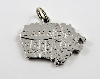 Map of Canada Sterling Silver Pendant or Charm.