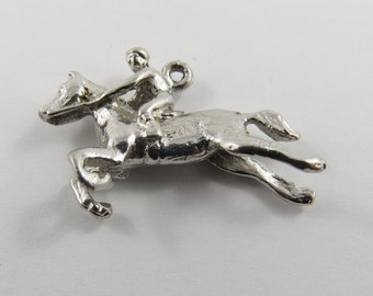 Jockey Riding Thoroughbred Race Horse Silver Charm of Pendant.