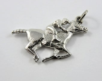 Jockey Riding Thoroughbred Race Horse Sterling Silver Charm or Pendant.