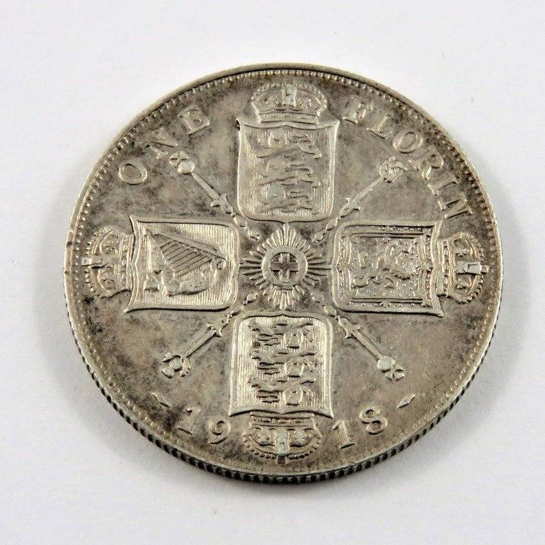 Great Britain 1918 Sterling Silver One Florin Coin.