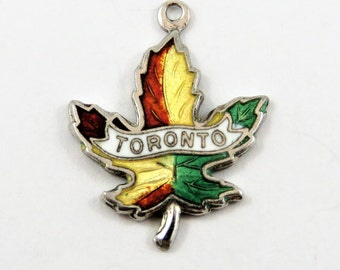 Enameled Toronto Maple Leaf Sterling Silver Charm or Pendant.