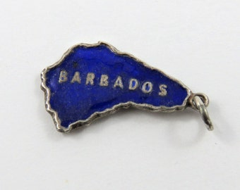Enameled Outline of Caribbean Island of Barbados Sterling Silver Pendant or Charm.