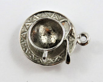 Afternoon Tea Cup Spoon and Saucer Silver Charm of Pendant.