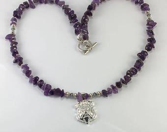 Handmade Genuine Purple Amethyst Bulldog Pendant necklace Genuine Amethyst necklace English Bulldog NecklacePit Bully jewelry dog lover