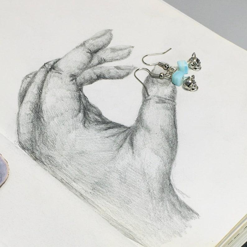 Turquoise Gemstone Skull Earrings Turquoise earrings