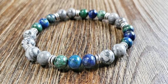 Gemstones bracelet Grey picture jasper bracelet Energy jewelry Men Grey bracelet yoga bracelet Men Sandalwood bracelet Mala bracelet