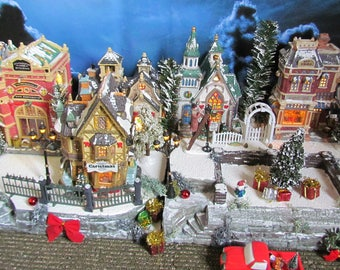 christmas lighted building village display dept 56 display base platform 28x12 dickens snow village lemax miniature city vsx