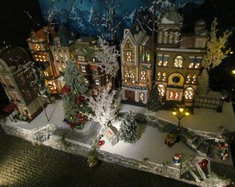 dept 56 village display base multi level curving christmas display platform 42x12 modular to grow lemax snow village dickens city nop