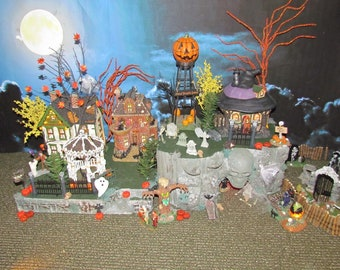 lighted skull halloween display base for department 56 mini village cave platform lemax pw