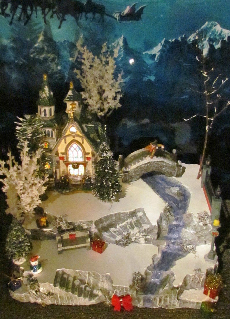 Christmas Village Display Platforms.Creek Stone Bridge Christmas Village Display Base Dept 56 Lemax Miniature City With Water Feature Ax