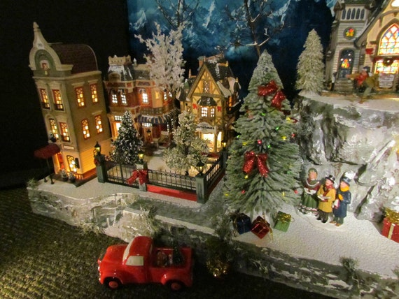 Department 56 Christmas Village Display.Mountain Overlook Christmas Village House Display Platform Base 28x12 Dept 56 Lemax For Department 56 City Buildings Sidewalk Nmp