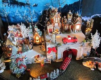 LIGHTED 28x12,  2-piece Train Tunnel Christmas display LIT PLATFORM Base, Miniature village, for Lemax & Dept 56 Snow village stand Qp