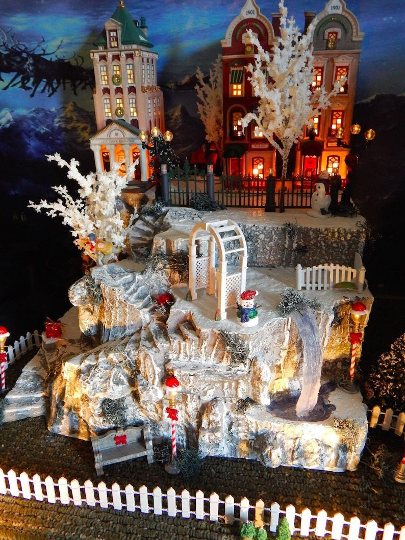 Christmas Village Platforms.Tall Lighted Cave Christmas Village Display Base Platform Winding Stairs Waterfall Dept 56 Lemax Department 56 Christmas In The City K