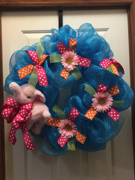 Baby Wreath For Doors Welcome New Baby Decor Baby Etsy