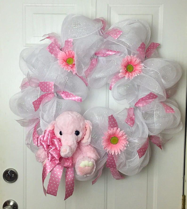 Baby Front Door Wreath Baby Girl Shower Wreath Shower Gift Etsy