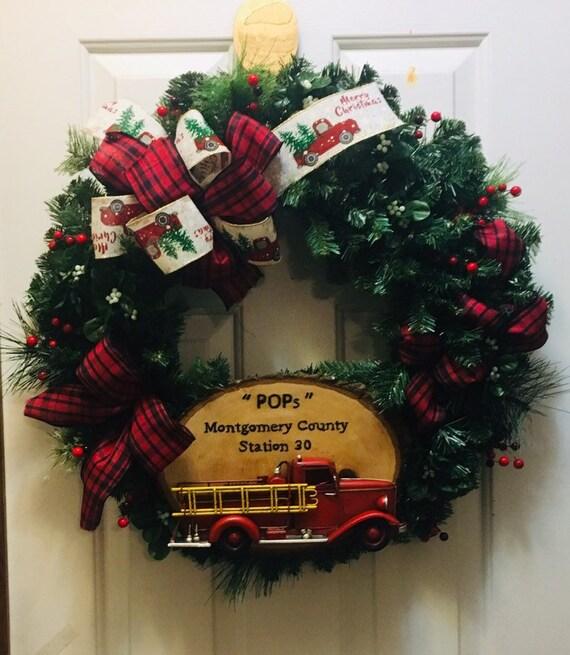 A Firehouse Christmas.Firehouse Christmas Wreath Christmas Wreath Red Truck Christmas Wreath Farmhouse Wreath Christmas Farmhouse Wreath