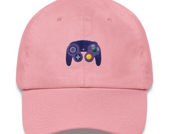a23ec60decda4 Game Cube Dad Hat - Gamecube Controller Strapback Hat - Nintendo Game Cube  Controller Low Profile Hat