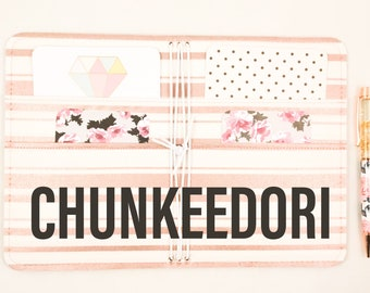 CHUNKEEDORI Fauxdori Travelers Notebook Vegan Journal Cover, Custom Fabric Travelers Notebook Cover