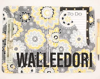 WALLEEDORI Fabric Travelers Notebook Cover/ Vegan Journal Notebook Cover Travelers Notebook Wallet