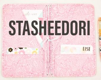 Fabric Planner Cover STASHEEDORI /Custom Travelers Notebook Cover Fauxdori Midori Notebook Vegan Journal Handmade Cover