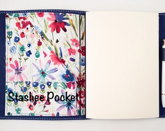 A5, or No. 8  Fabric Travelers Notebook Wallet Insert
