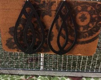 Black teardrop patterned leather earrings