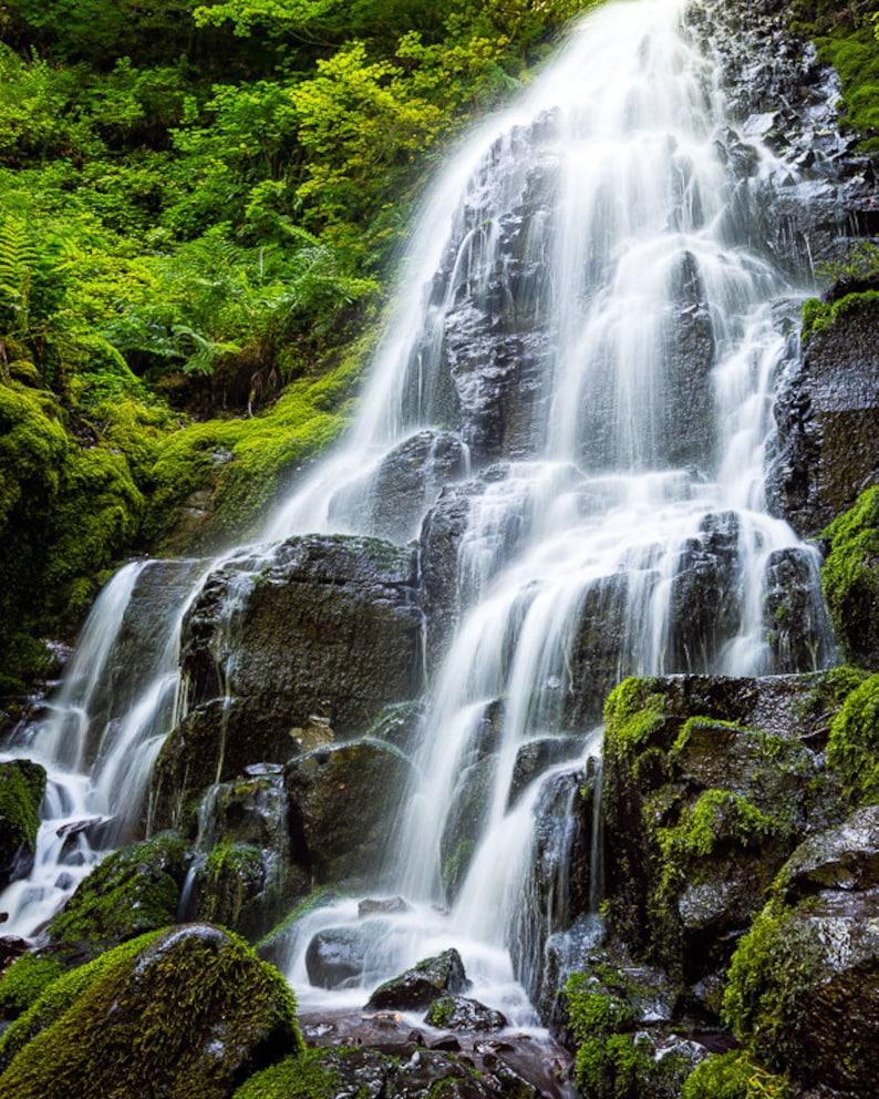 Fairy Falls Columbia River Gorge Waterfall Oregon Pacific Northwest Green Water Wahkeena Landscape Nature Photography Fine Art Photo Print
