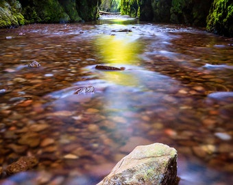 Fine Art Photo Print, Oneonta Columbia River Gorge Slot Canyon, Oregon Pacific Northwest, Glowing Water, Landscape Nature Photography