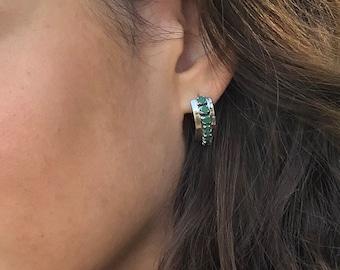 Emerald Earrings, Natural Emerald, May Birthstone, Vintage Earrings, Genuine Emerald, Unique Earrings, Solid Silver, Emerald, Real Emerald