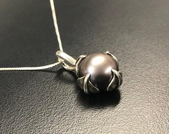Black Pearl Pendant, Natural Black Pearl, Vintage Pendant, Genuine Pearl, Leaf Pendant, Solid Silver Pendant