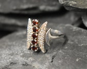 Tribal Garnet Ring, Natural Garnet, Shield Ring, January Birthstone, Asymmetric Ring, Red Vintage Ring, Pointy Spike Ring, Solid Silver Ring