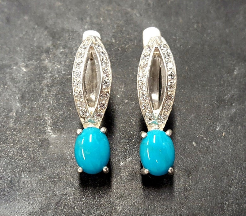 Natural Turquoise Vintage Turquoise Earrings Vintage Turquoise Pure Silver Arizona Turquoise Turquoise Earrings Antique Earrings