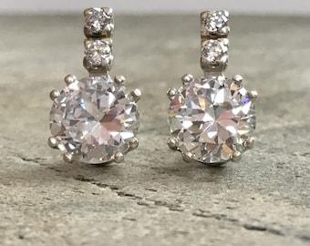 Vintage Earrings, Diamond Earrings, 2 carat Diamond, Created Diamond, Bridal Diamond Earrings, Bridal Earrings, CZ Diamonds, Solid Silver